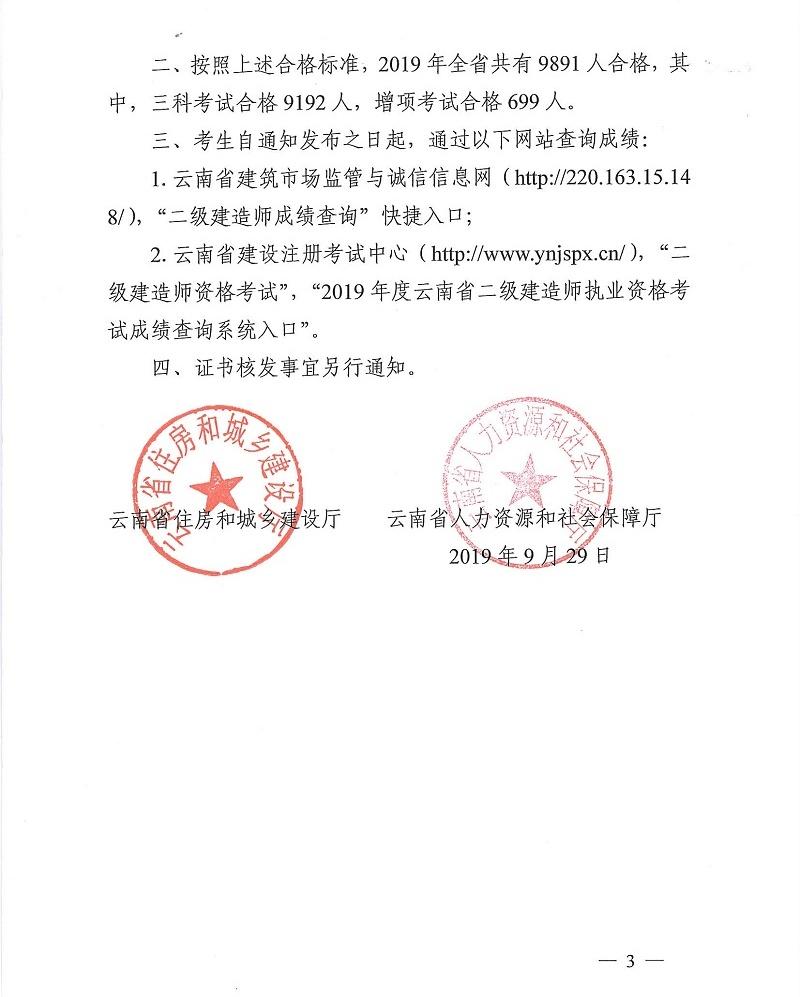 云南二级建造师合格标准通知03